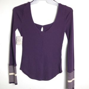 Free People Mod Purple Striped Cuff Thermal Top